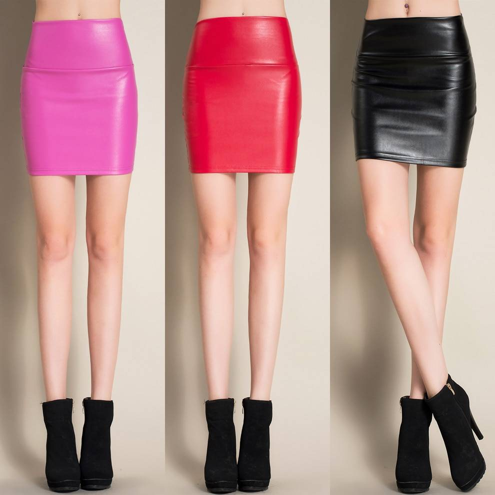 Ladies Candy Color Leather Skirt