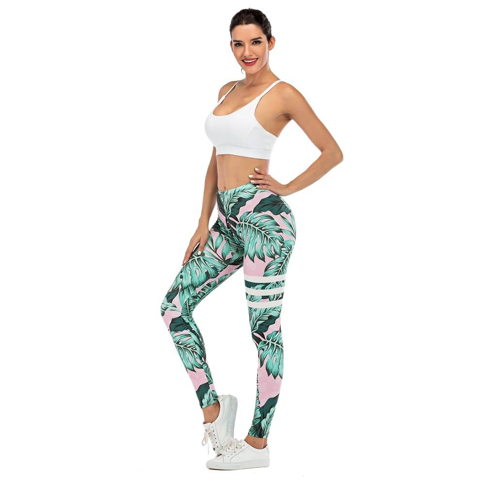 Women Legging Leaf Printing Fitness Leggings
