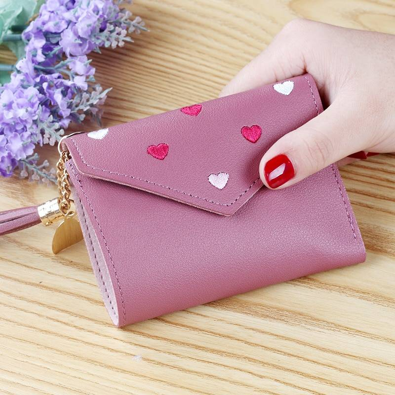 Multi-function Women's Mini Wallet Candy Color Heart-shaped
