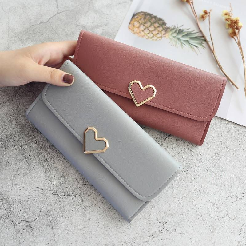 Leather Purse Heart-shaped Decoration Multi-card Wallet