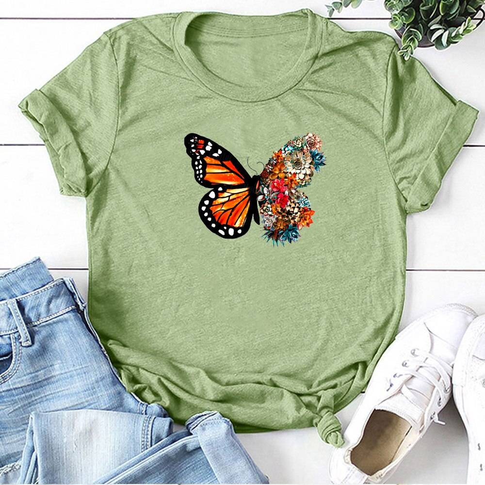 Butterfly Flowers Printing T-shirt Women